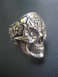Day of the dead skull ring by flintlockprivateer