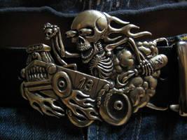 Hot Rod skeleton belt buckle