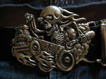 Hot Rod skeleton belt buckle by flintlockprivateer