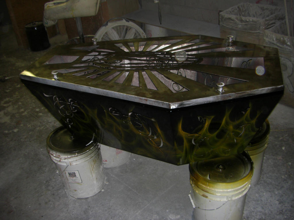 Realistic flames airbrushed on Coffin Coffee Table by