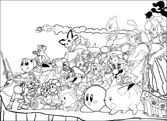 Super smash bros melee flash traced by superrey42 on for Super smash bros brawl coloring pages
