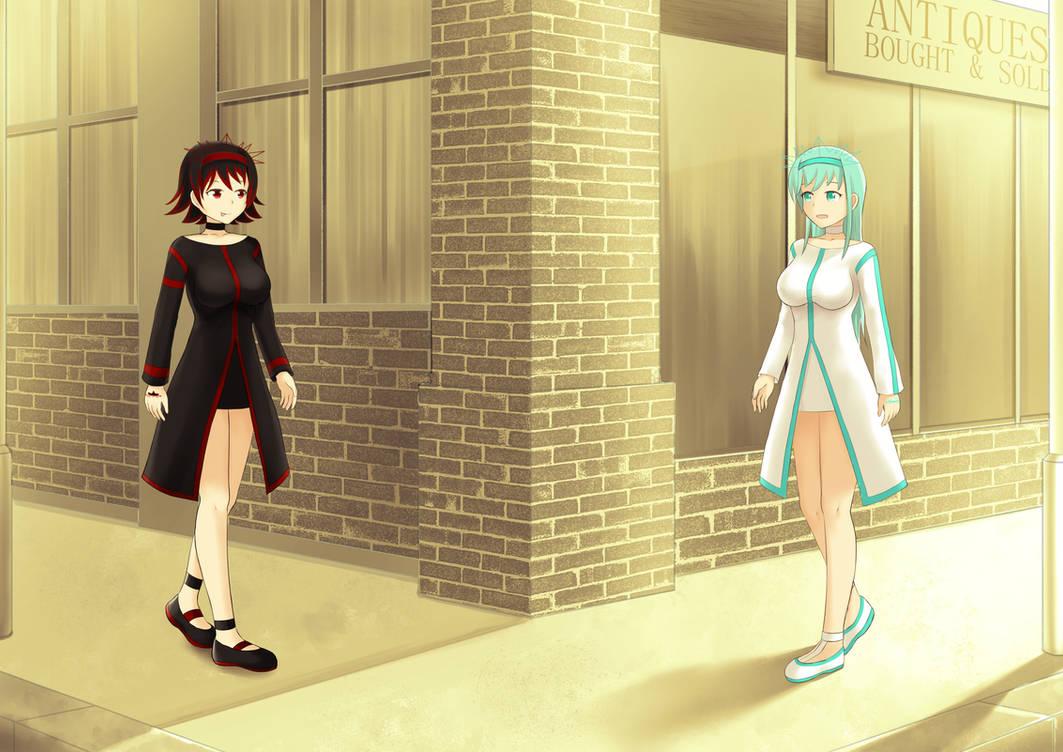 Deviyla and Goddyia walking down nightwalker st.