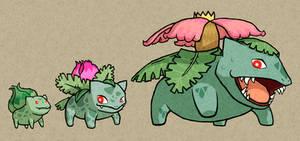 WW: Bulbasaur, Ivysaur and Venusaur by DrBackMan