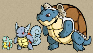 WW: Squirtle, Wartortle and Blastoise by DrBackMan