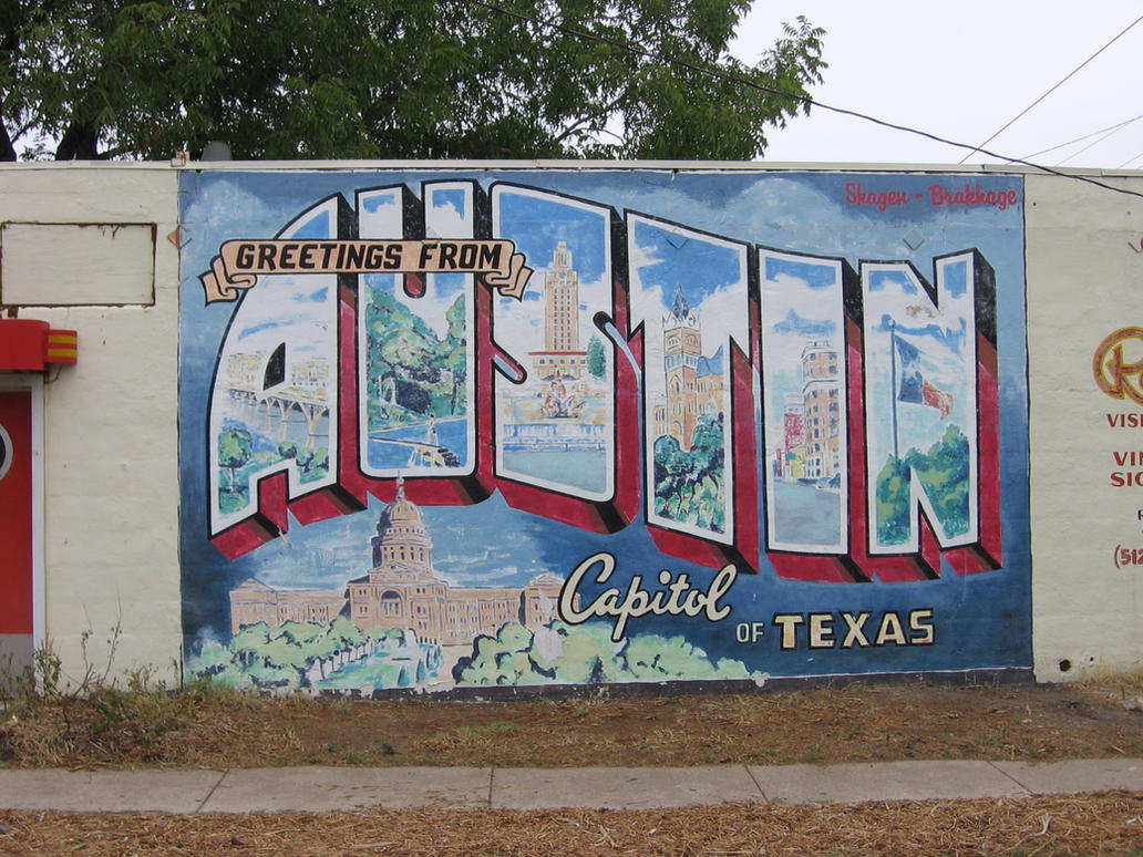 39 greetings from austin 39 postcard mural by humblequietone for Austin mural wall
