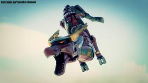 Red dragon Thunderzord / megazord CGI / wallpaper