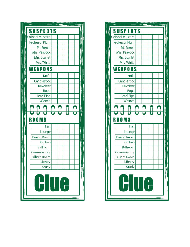 Clue Sheets by Rukia700 on DeviantArt