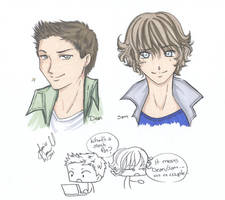 Supernatural Sketch Dean Sam by AnimeJanice
