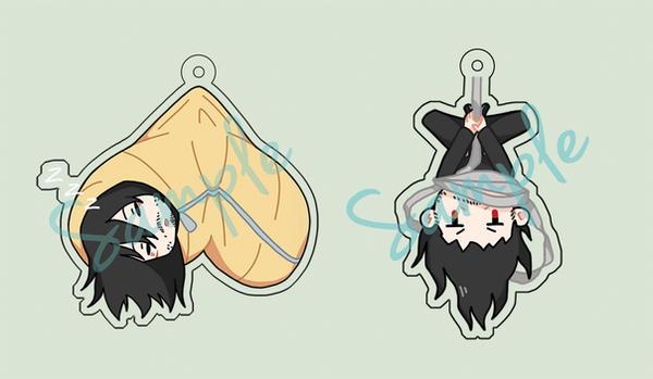 Sleepyzawa and Spideyzawa Acrylic Charms by nalu-art