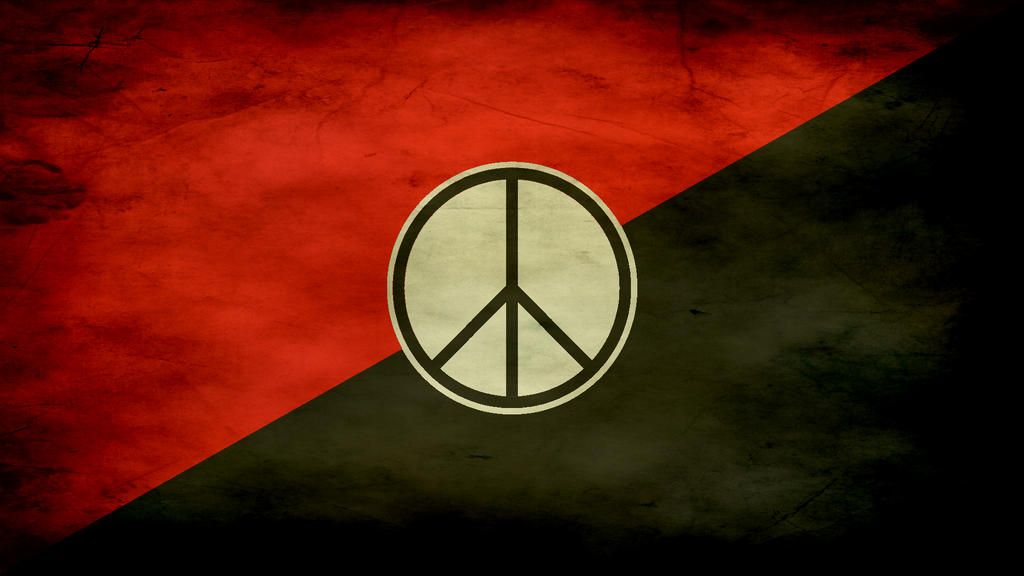 Red And Black Flag With Peace Sign 1920x1080 By Moshuka On Deviantart