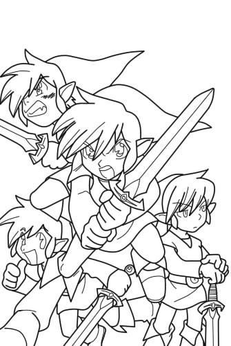 The four swords lineart by lineartstobecolored on deviantart for The legend of zelda coloring pages