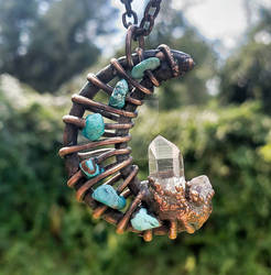 MOON Crystal Turquoise Copper Electroformed Jewel