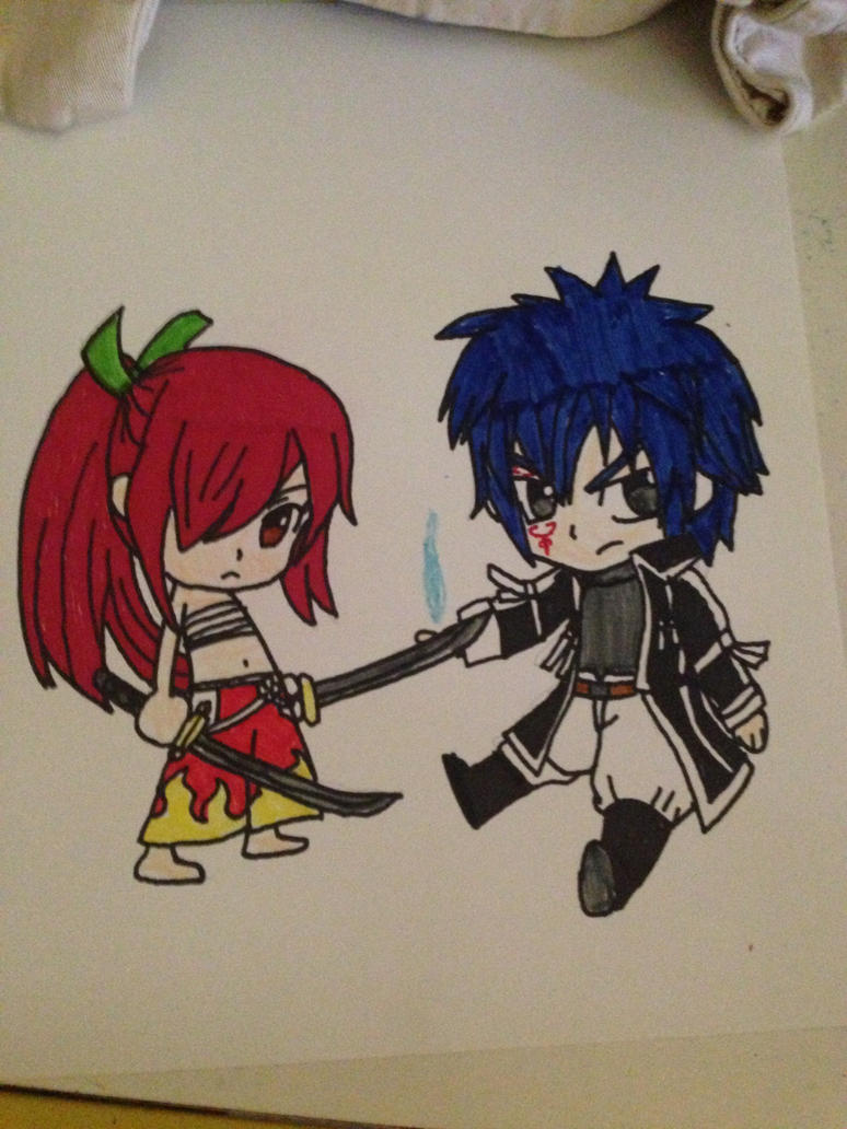 Chibi Erza and Chibi Jellal by NatsuxLucy808 on DeviantArt