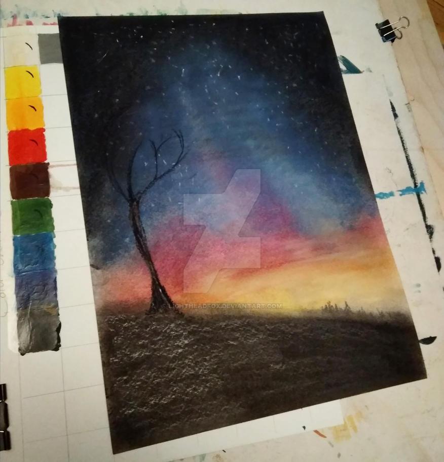 Dawn with tree by Lightheadfox