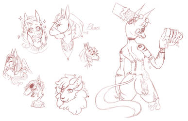 Sketches from yesterday's stream! by Shina-X