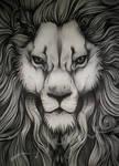 Big ass, overly detailed biro sketch of a Lion.