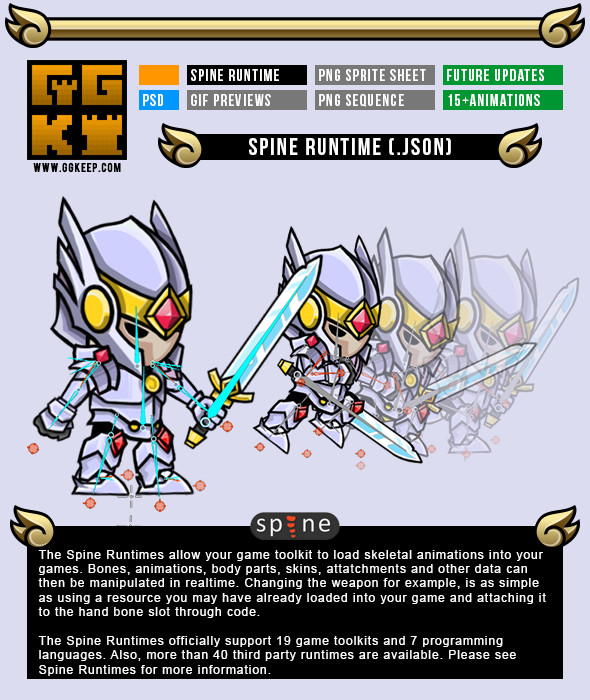 2D Game Character Knight,Warrior