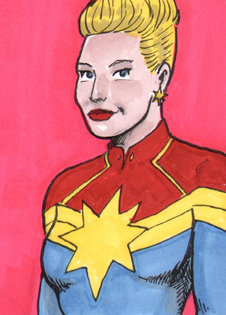 Captain Marvel Sketch Card by pjperez