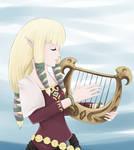Zelda playing the harp
