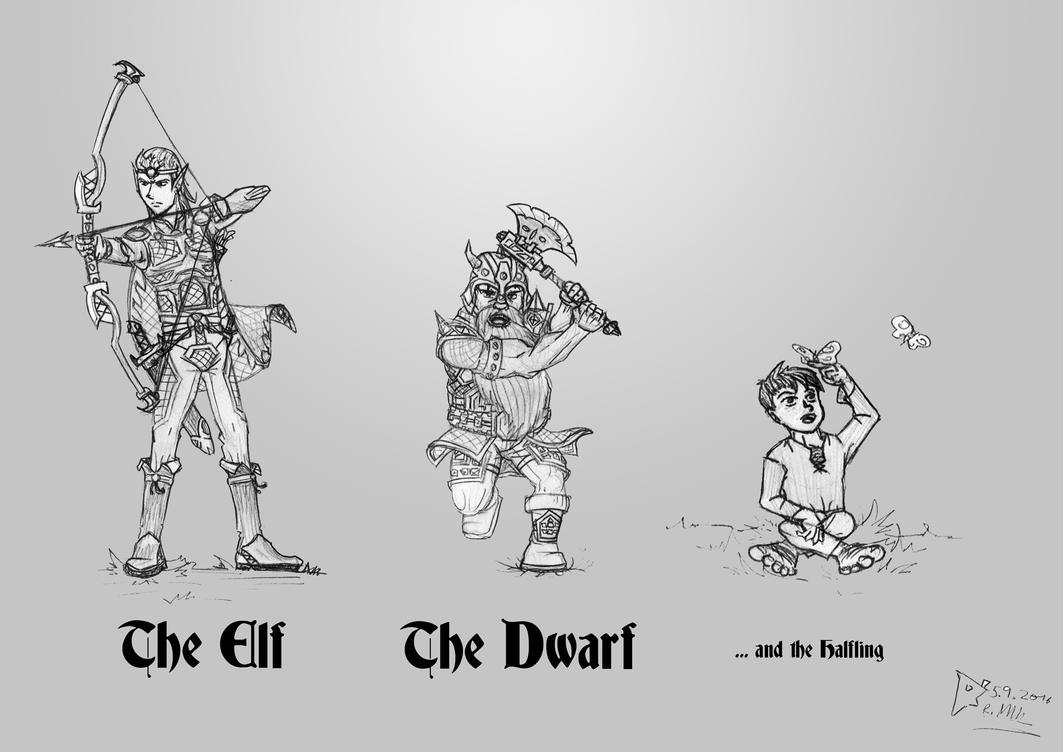 Elf Dwarf Halfling by theRapkin