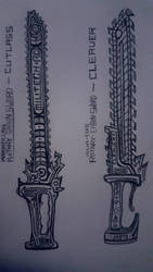 Chainsword Concept Sketches by HypnoZeus