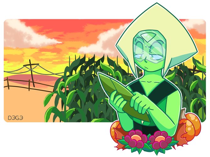 Drawing corn stalks was a pain, but I'm fairly pleased with the results. Peridot ain't too happy her corn isn't doing her bidding. Oh well, you're still an amazing farmer, P...
