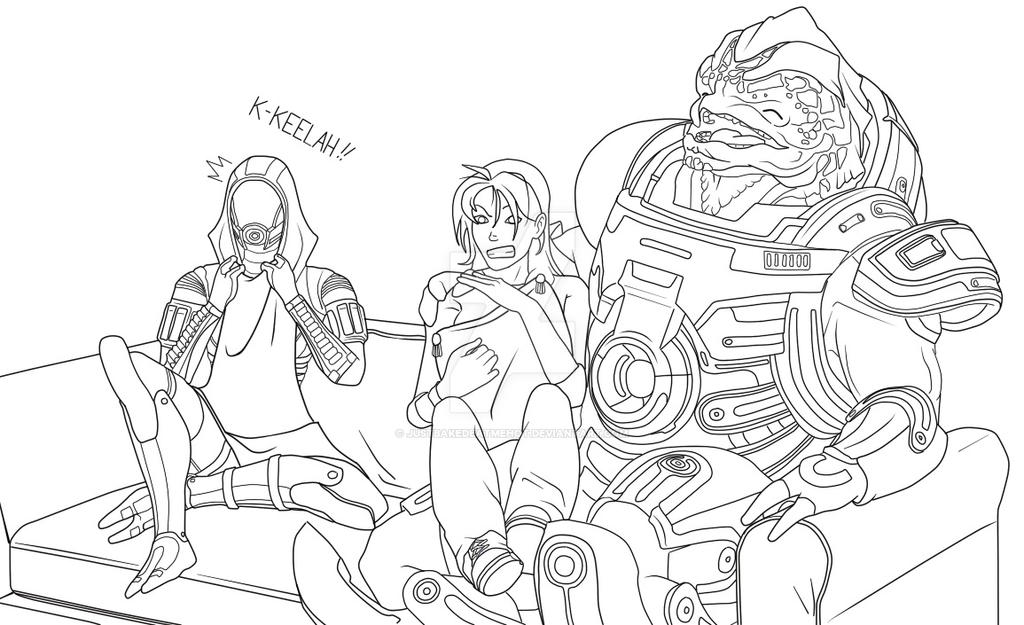 Mass Effect Movie night~ Lineart by Justbakedeatmehot