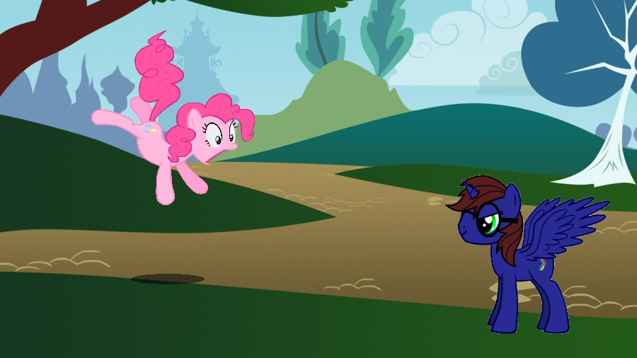 Pinkie has Caught wind of my arrival in Ponyville by HackalotSpark