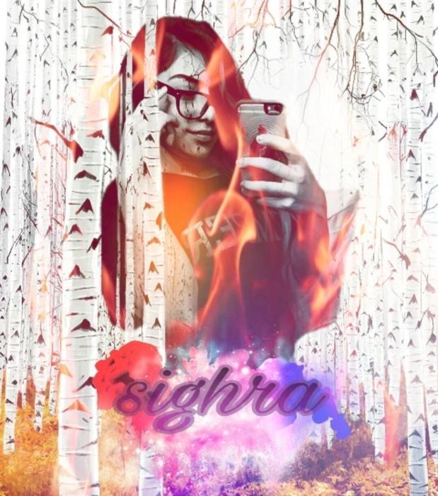 Sighra - Autumn Birch Grove -  Fire Art - Selfie