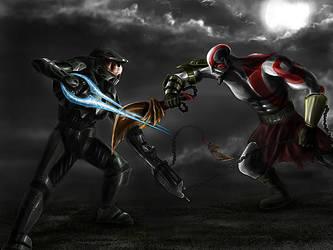 Master Chief vs Kratos by jose144