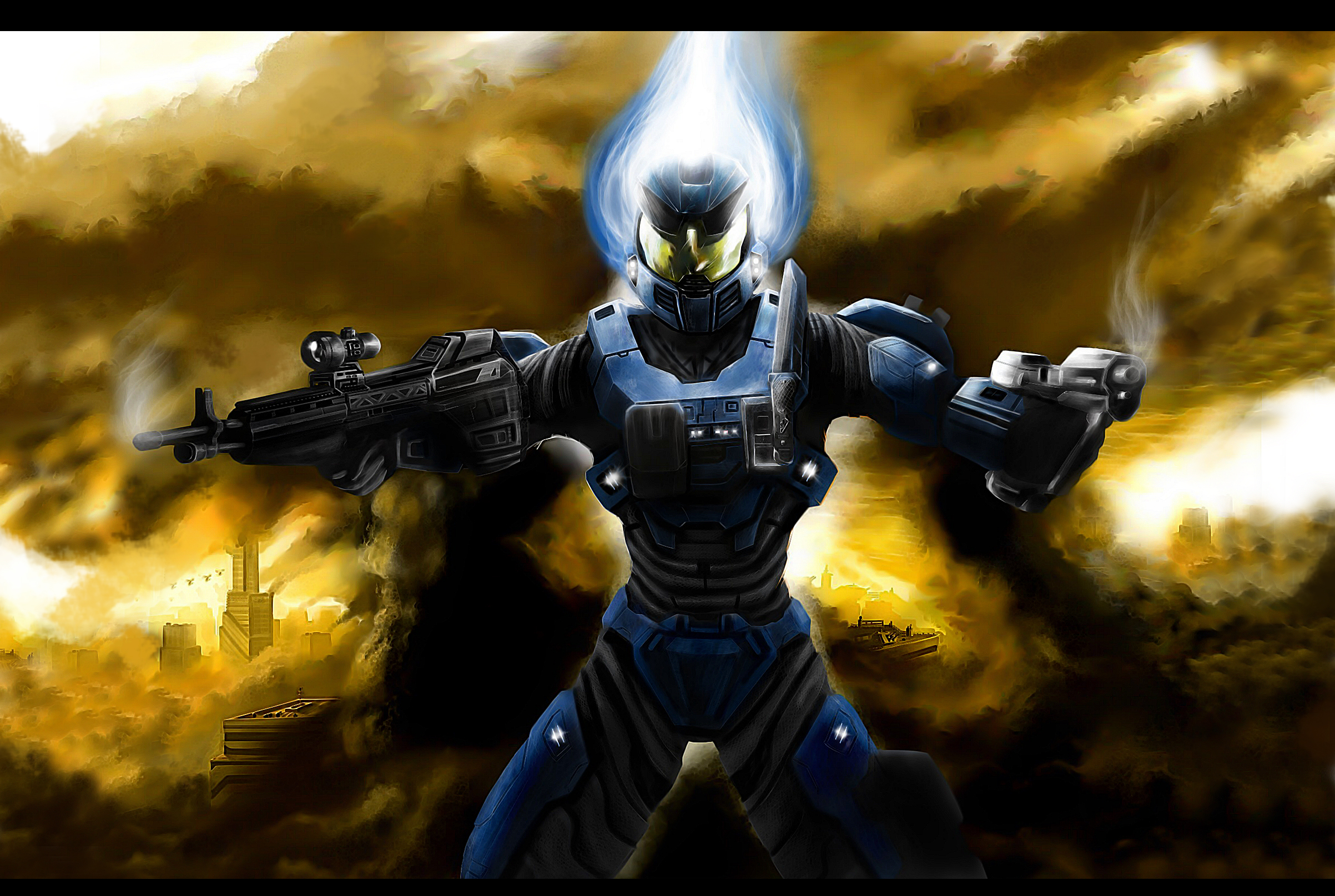 HALO Female Flaming Blue Helmet by jose144