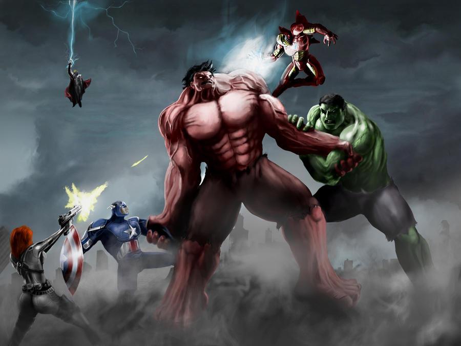 Red Hulk Vs Green Hulk Vs Gray Hulk Avengers vs red hulk by