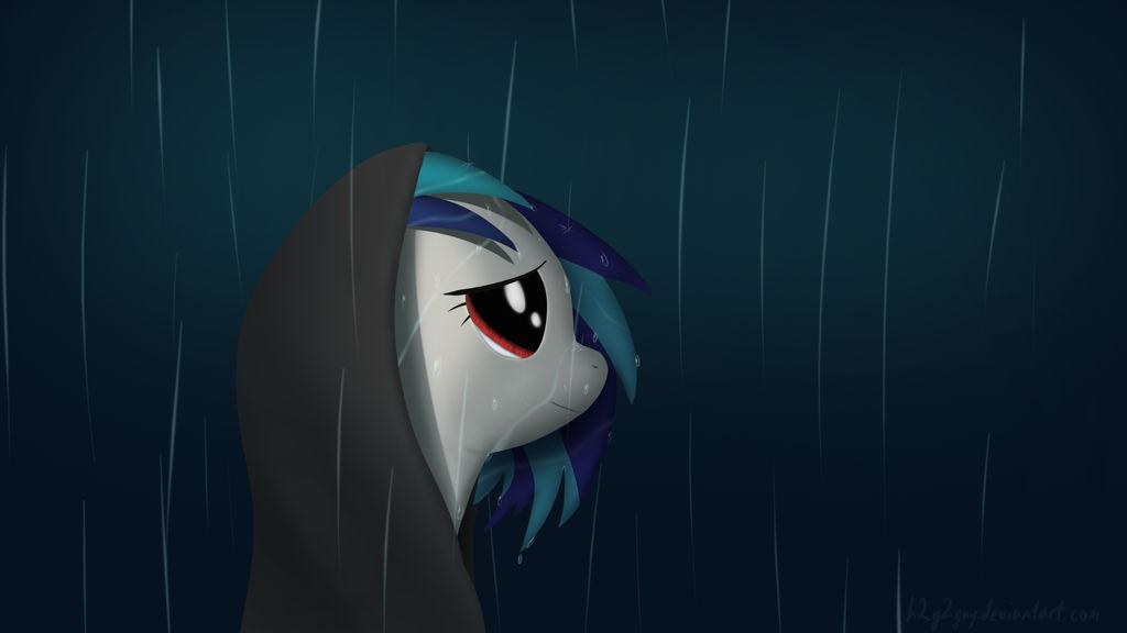 Vinyl Scratch in the Rain