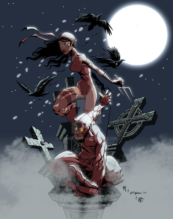 Daredevil and Elektra by ginmau
