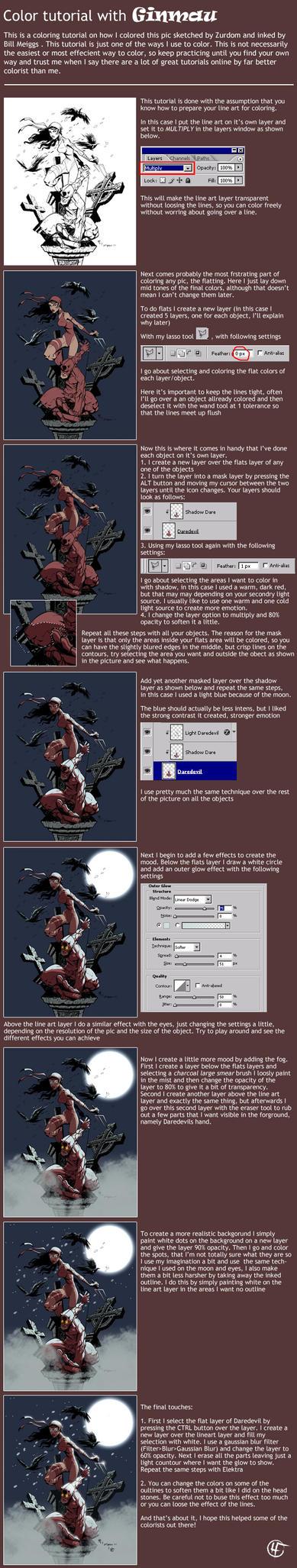 Comic Coloring Tutorial by ginmau