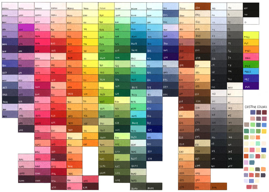 Complete Copic Color Chart by Jad-Ardat on DeviantArt