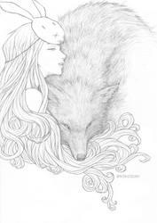 Fan Art - Rabbit Girl and The Wolf by n3kozuki