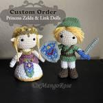 Custom Order: Link and Princess Zelda Dolls