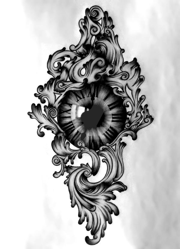 clock eye tattoo design by nathanbrittain on deviantart. Black Bedroom Furniture Sets. Home Design Ideas