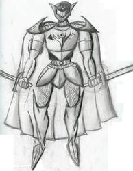 armored knight with cape