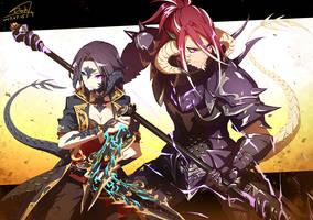 FFXIV - Tsuyo and Ramara by DarkHHHHHH