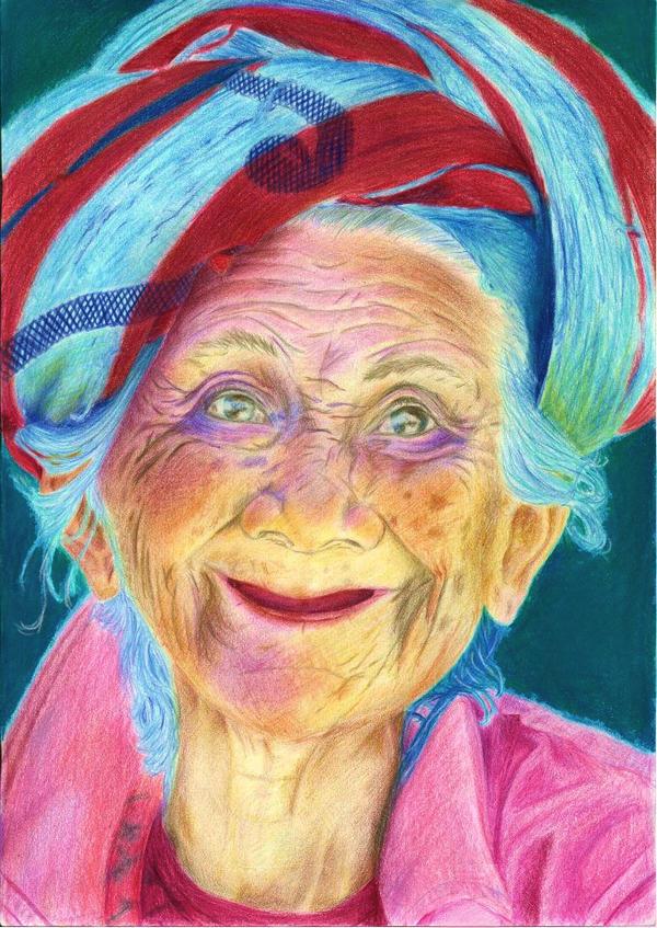 A joyful elder lady