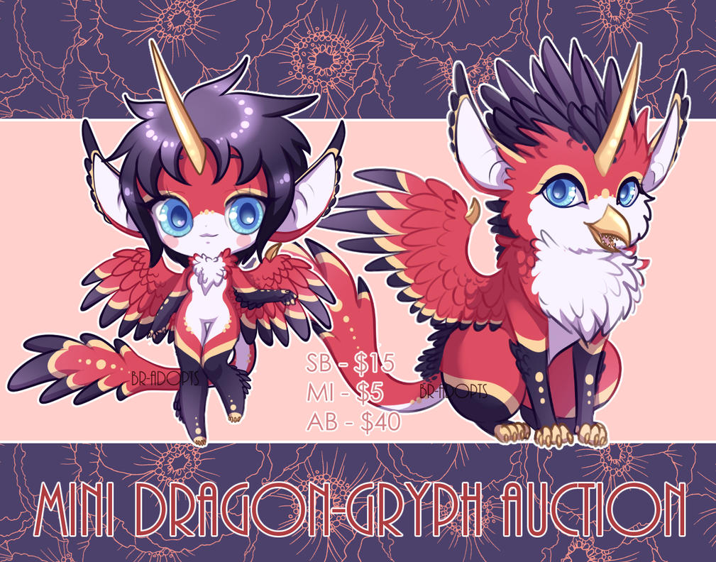 Mini Dragon-Gryph Auction (CLOSED) by Blackraven-Adopts