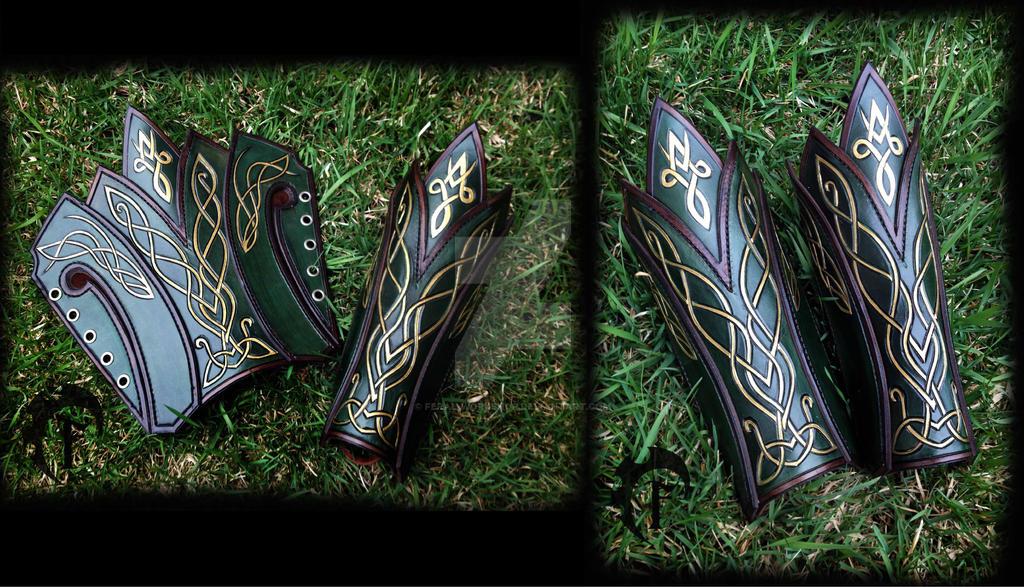 Elvish leather bracers by Feral-Workshop