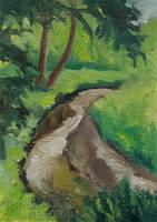 Stream With Trees by JMNeedhamArt
