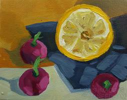 Lemon and Radishes by JMNeedhamArt