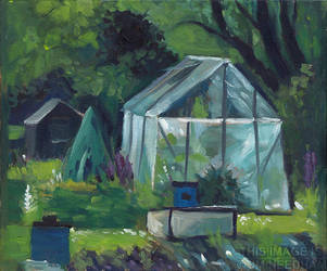 Greenhouse At The Allotments by JMNeedhamArt