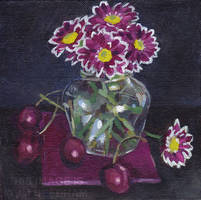 Pink Chrysanthemums and Cherries