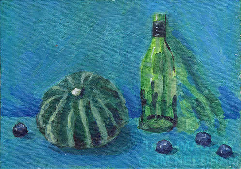 Gourd, Bottle and Blueberries - Blue and Green