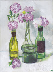 Pink Carnations and Green Glass